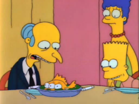 Mr. Burns run for Governor fails refuses to eat fish