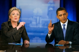 US Democratic presidential candidates Senator Hillary Clinton and Senator Barack Obama during debate